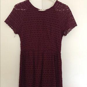 Free people maroon lace mini dress